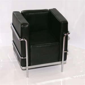 "Modern Chair - Black (Perfectly scaled for Vita and most 16"" Fashion Dolls) Highly detailed chrome plated metal frame and leatherette seats."