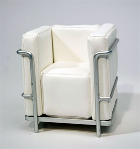 "Modern Chair - White (Perfectly scaled for Vita and most 16"" Fashion Dolls) Highly detailed chrome plated metal frame and leatherette seats."