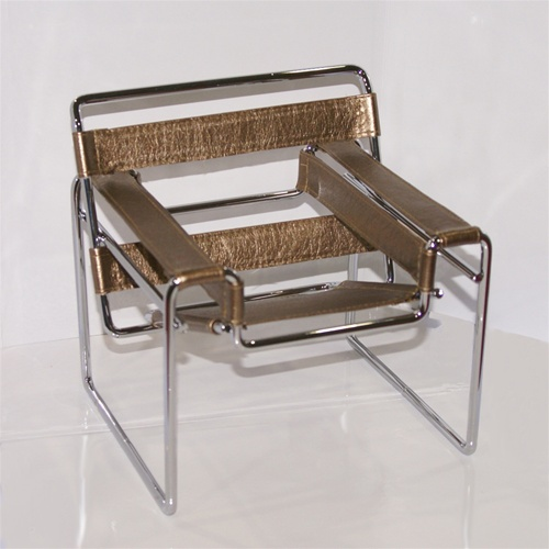"Tubular Chair - Antique Bronze (Perfectly scaled for Vita and most 16"" Fashion Dolls) Highly detailed chrome plated metal frame and leatherette seats."