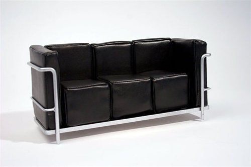 "Modern Couch - Black (Perfectly scaled for 12"" Fashion Dolls) Highly detailed chrome plated metal frame and leatherette seat."