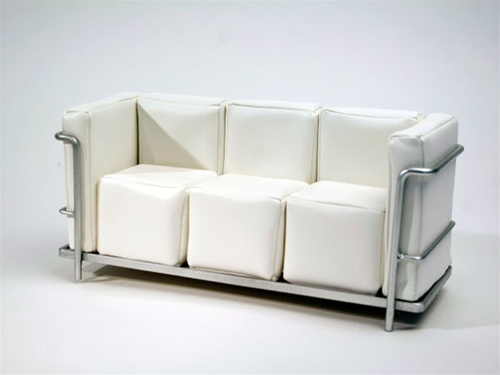 "Modern Couch - White (Perfectly scaled for 12"" Fashion Dolls) Highly scaled chrome plated metal frame and leatherette seat."