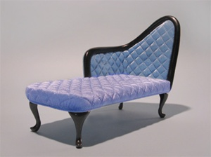 "French Chaise - Blue - (Perfectly scaled for Vita and most 16"" Fashion Dolls)"