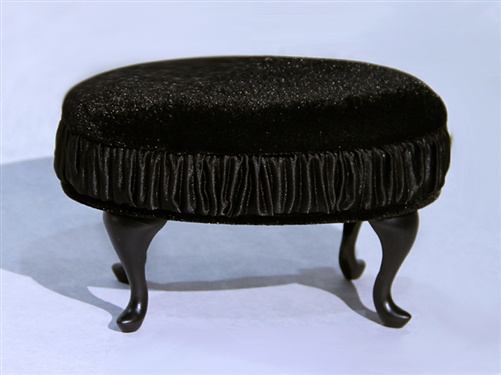 "PRINCESS OTTOMAN- BLACK (Perfectly scaled for Vita and most 16"" Fashion Dolls)"
