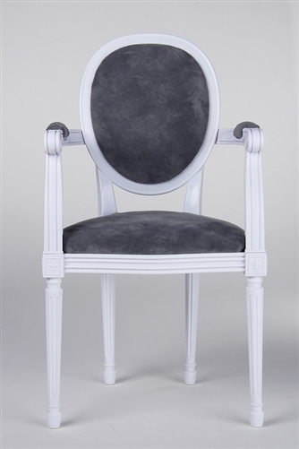 "Louis XVI Style ArmChair - French White (Perfectly scaled for Vita and most 16"" Fashion Dolls) Minor assembly of inserting chair's legs to frame required."