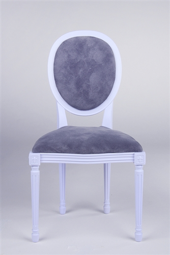 "Louis XVI Style Chair - French White (Perfectly scaled for Vita and most 16"" Fashion Dolls) Minor assembly of inserting chair's legs to frame required."