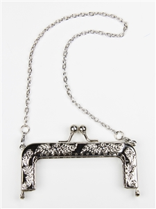 CLASSIC PURSE FRAME 78303 - SILVER - EMBOSSED METAL