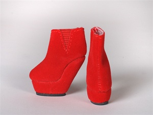 Red Velvet Platform Wedge Booties