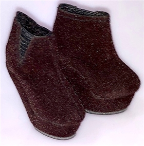 Brown Velvet Platform Wedge Booties