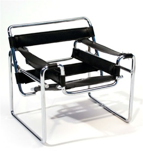 "Tubular Chair - Black (Perfectly scaled for 12"" Fashion Dolls) Highly detailed chrome plated metal frame and leatherette seats."