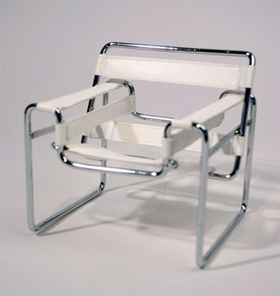 "Tubular Chair - White (Perfectly scaled for 12"" Fashion Dolls) Highly detailed chrome plated metal frame and leatherette seat."