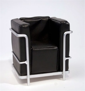 "Modern Chair - Black (Perfectly scaled for 12"" Fashion Dolls) Highly detailed chrome plated metal frame and leatherette seat."