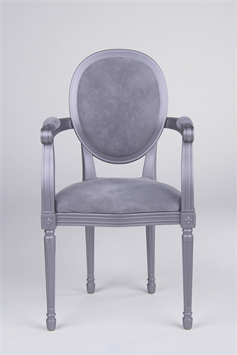 "Louis XVI Style ArmChair - Pewter (Perfectly scaled for Vita and most 16"" Fashion Dolls) Minor assembly of inserting chair's legs to frame required."